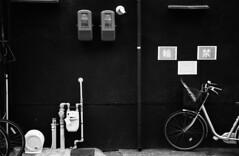 (Maybe Bicycle Parking Ban) (Purple Field) Tags: street bw film monochrome bicycle japan analog zeiss 35mm walking 50mm alley kyoto fuji iso400 pipe rangefinder contax ii carl   neopan meter ikon   presto  sonnar f20              stphotographia    ii