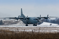 Antonov An-12 (denlazarev) Tags: winter sky snow clouds plane canon airplane fly photo airport russia outdoor aircraft aviation military air takeoff runway spotting airliner rostovondon lightroom  antonov  an12   xrro rf95685