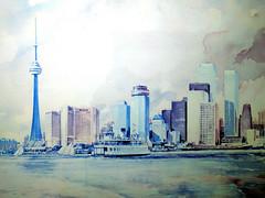 the city before the condos (Ian Muttoo) Tags: toronto ontario canada skyline watercolor painting print cntower gimp watercolour torontoskyline shiftn 20160128165229editshiftn