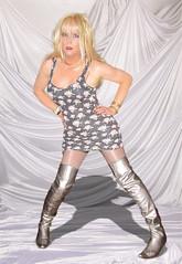 Satin slopes..... (Irene Nyman) Tags: blue cute sexy dutch silver eyes dress legs boots posing mini tgirl short tranny blonde irene tribute tight mandi crossdresser hig heeled nyman travestiet brummigem