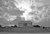Memorial Under Unsettled Skies (peterkelly) Tags: bw usa sun clouds stairs digital us dc washington districtofcolumbia unitedstates cloudy unitedstatesofamerica columns steps tourists lincolnmemorial northamerica visitors pillars abrahamlincoln