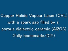 Copper Halide Vapour Laser (CVL) with a spark gap filled by a porous dielectric ceramic (Al2O3) (fully homemade/DIY) (Sothory) Tags: green yellow metal diy cu handmade double homemade copper laser pulse vapour vapor chloride fumes cvl chlorine iodine cui halide cuprum cucl monochloride