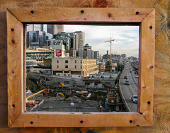 Framed (prima seadiva-moving slow) Tags: park window construction market crane viaduct pikeplace victorsteinbrueckpark