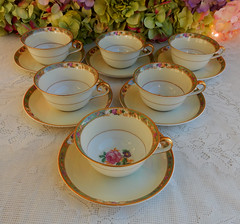 KPM Germany Porcelain Cups & Saucers ~ Floral ~ Rose ~ Gold (Donna's Collectables) Tags: floral rose germany gold cups porcelain ~ saucers kpm