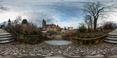 An der Bastion Cleve (360 x 180) (diwan) Tags: city panorama clouds canon germany geotagged deutschland eos stair view place stitch cathedral outdoor roundabout wolken fisheye cobblestones magdeburg stadt panoramix 360 2016 fotogruppe ptgui kopfsteinpflaster equirectangular saxonyanhalt sachsenanhalt magdeburgerdom canoneos650d bastioncleve spivpano walimexprofisheye835 fotogruppemagdeburg geo:lon=11634695 geo:lat=52123286