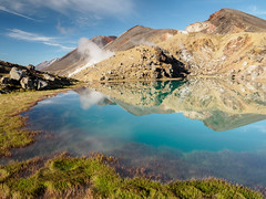 Volcanic Oasis (blue polaris) Tags: park new red summer lake landscape island volcano crossing north lakes steam zealand alpine national crater tongariro northern volcanic circuit emerald fumarole