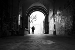 Kaserne (maekke) Tags: street urban bw streetart man graffiti switzerland noiretblanc streetphotography tunnel fujifilm zrich ch 2016 kreis4 aussersihl x100t