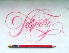 February (inspiration_de) Tags: pencil typography design type lettering script flourish handlettering handdrawntype handtype