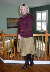 Tan and Burgundy (krislagreen) Tags: boots maroon cd tan skirt tgirl transgender blond crossdress suede tg feminization tranvestite tneck feminized