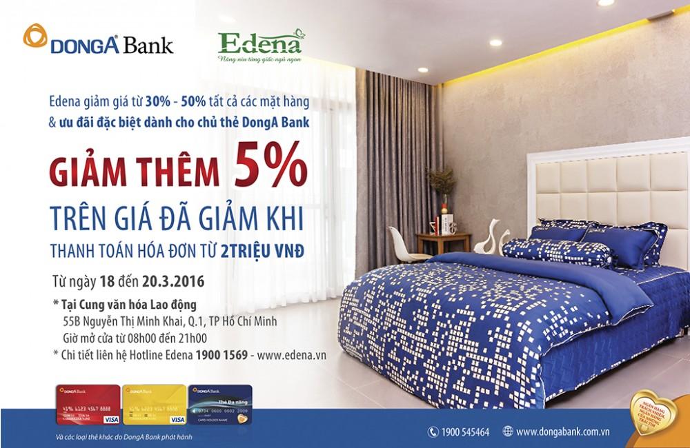 Ưu đãi đặc biệt dành cho chủ thẻ DongA Bank khi mua sắm tại Edena