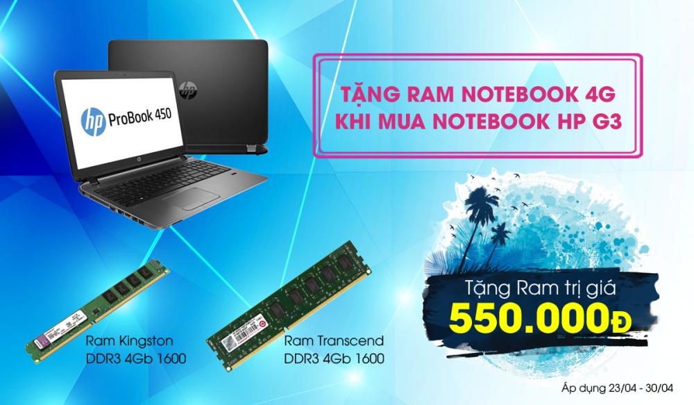 Tặng thêm RAM chính hãng trị giá 550.000 khi mua laptop HP Probook G3