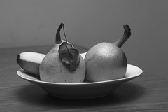 Fruit. (Aviator195) Tags: blackandwhite stilllife food orange art monochrome fruit leaf still interesting nikon arty flash plate australia monochromatic banana artsy pear fruity ashfield greyscale d7100 nikond7100