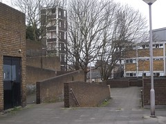 The Ochard Estate,3 (doojohn701) Tags: trees station fire apartments post social flats lamppost bland council housing 1970s modernist depressing