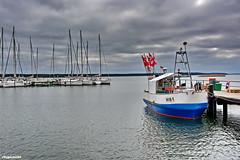 Hafen Breege (garzer06) Tags: rot deutschland boot wasser himmel wolken insel blau rügen hafen vorpommern wellen bodden mecklenburgvorpommern fischerboot weis bootssteg segelboote naturfotografie naturephoto breege inselrügen wolkenhimmel fischereiboot naturphotography breegehafen