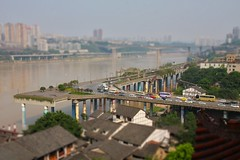 Chongqing (cefan) Tags: china city bridge house cars buildings river roofs tiltshift