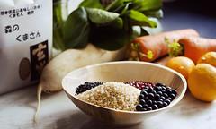 Preparing (nackorris) Tags: vegan wholefoods carrot organic blackbeans radish blackrice genmai komatsuna adzuki plantbased
