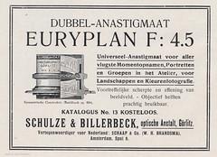 Schulze & Billerbeck Euryplan Advertisement (01) (Hans Kerensky) Tags: focus grlitz f45 advertisement april universal schulze 1916 billerbeck optische anstalt anastigmat euryplan