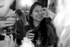 Sara's birthday (Gary Kinsman) Tags: birthday bw london smile bar nose blackwhite pub camden candid flash grin camdentown nw1 hawleyarms 2013 castlehavenroad fujix100 fujifilmfinepixx100