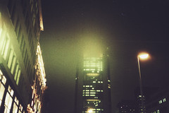 (LICHTHOF-CM) Tags: street camera city sky tower film fog night analog skyscraper canon germany dark deutschland photography lights licht am big fuji darkness shot nacht superia frankfurt empty main bank iso 200 roads commerzbank metropole dunkelheit ffm lichthof af35 tumblr canonaf35 lichthoftumblrcom