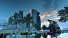 Water World (Sanjiban2011) Tags: city reflection water architecture buildings nikon cityscape upsidedown outdoor corniche d750 tamron doha qatar arrangements westbay dohawestbay tamron1530