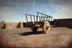 Oxcart at Fort Leaton (Scosanf) Tags: trip travel art texture canon eos roadtrip historic springbreak nostalgic vignette bigbend topaz 6d oxcart americanhistory fortleaton texashistory