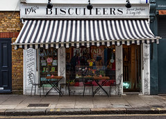 Biscuiteers (V Photography and Art) Tags: street london cakes awning cafe chairs pavement stripes tables portobello nottinghill facede alresco