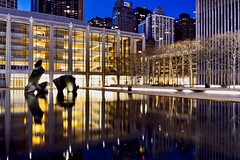 Lincoln Center Pool Reflection (Lojones13) Tags: longexposure newyork water pool night tranquil lincolncenter