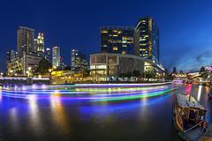 Clarke Quay Singapore (gintks) Tags: sunset seascape landscapes singapore vibrant central architectural bluehour colourful singapur exploresingapore boattrails gintay singaporetourismboard yoursingapore gintaygintks