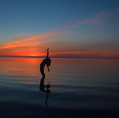 (kerrdanielle8283) Tags: blue light sunset red portrait orange sun reflection beach water yoga pose sillouette colourful