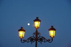 Arriverderci Siviglia ... Goodbye Seville (Marco_964) Tags: sky lamp blu seville luna cielo notte luce lampione siviglia