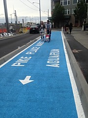 The Blue Carpet Awaits! Wayfinding to destinations along our waterfront (Seattle Department of Transportation) Tags: seattle blue walking carpet waterfront stroller transportation pedestrians walkers wayfinding thatway thisway sdot donghochang