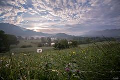 dawn (Il Massimo) Tags: travel flowers sky italy panorama sun nature clouds landscape dawn spring wideangle dew brianza lombardia paesaggio lecco tarassaco brivio canon70d