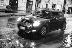 Driving in the Rain (ale_brando) Tags: street motion blur monochrome car rain night speed 50mm mono drive streetphotography mini motionblur fx d700 nikonfx