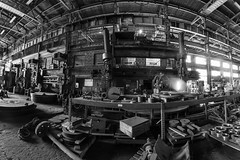 Steel Mill Scene (ricepeter) Tags: mill steel fisheye warehouse urbex handheldexposure