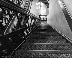 Down the Statehouse Stairs (that_damn_duck) Tags: bw blackwhite southcarolina depthoffield staircase statehouse southcarolinastatehouse