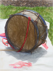 The Drum and Mask (Steve Taylor (Photography)) Tags: uk greatbritain blue shadow red england brown white green art texture grass sunshine digital cord mask unitedkingdom drum lawn sunny rope blanket drumstick gb string bexley cloth hallplace