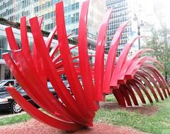 Saturday Colours - Calatrava on Park Avenue (Pushapoze - mostly off) Tags: newyorkcity red sculpture calatrava parkavenue