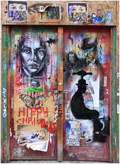 East End Street Art (Mabacam) Tags: streetart london wall graffiti stencil mural embroidery wallart urbanart shoreditch stitching freehand publicart aerosolart spraycanart stencilling eastend wheatpasting pasting 2016 urbanwall patrickmacnee theavenger yarnbombing pauldonsmith tapheadman victoriavillasana nooshinism