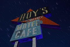 roy's motel cafe. amboy, ca. 2015. (eyetwist) Tags: california longexposure lightpainting west sign night america vintage dark landscape typography photography star cafe route66 nikon peeling neon desert famous trails motel roadtrip landmark 66 fullmoon route american highdesert mojave worn type americana moonlight weathered kicks arrow nikkor googie iconic vacancy gel nocturne startrails mojavedesert roys amboy typographic eyetwist npy roysmotelcafe d7000 capturenx2 eyetwistkevinballuff nikond7000 1024mmf3545g americantypology signgeeks