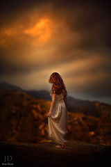 The Gulf ({jessica drossin}) Tags: sunset sky cliff woman white dark hair photography evening rocks long gulf dress slip gown jessicadrossin wwwjessicadrossincom jdbeautifulworldcollection