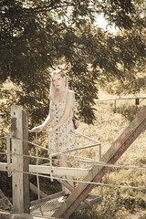 A bridged Leia, No.03 (Mike Wood Photography) Tags: bridge trees summer woman standing dress modeling blonde arr summerdress leia mikewoodphotography