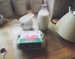Welsh Breakfast: Milk and Eggs (zedkay) Tags: wales breakfast tea kettle eggcarton milkman milkbottle