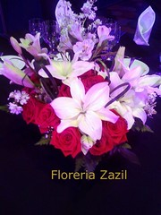 Centerpieces red & white (Floreria Zazil) Tags: centerpieces redwhiteflowers eventsdecor cancunflorist floreriazazil
