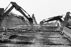 Machines at Work (Andy Marfia) Tags: bridge blackandwhite bw chicago concrete steel overpass demolition machines 70300mm f8 westernave rubble belmontave roscoevillage riverviewpark iso160 1800sec d7100