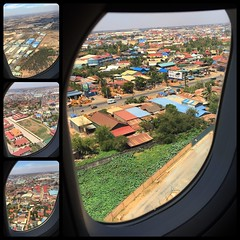 Descent into Cambodia (Danburg Murmur) Tags: road trees sky window fence cambodia rooftops mosaic vegetation phnompenh windowseat  evaair kampuchea   chngrnghngkng kingdhmpcha