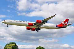 LONDON HEATHROW (Josep Oll) Tags: london plane heathrow aircraft aeroplane landing virgin fotos nubes airbus approach spotting lhr aterrizaje spotters pasajeros a340600 egll aproximacin myrtleav runway27r cuatrimotor egll2015 pista27l