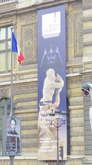 Louvre-Vador (Fvrier 2016) (Ostrevents) Tags: paris france statue facade dark europa europe louvre culture carving exhibition exposition capitale faade placard lelouvre affiche cinma programme musedulouvre vador darkvador chn lepenseur ostrevents 7mart