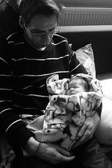 Both asleep (gornabanja) Tags: family sleeping blackandwhite baby man love blackwhite holding nikon infant arms d70 father daughter newborn asleep