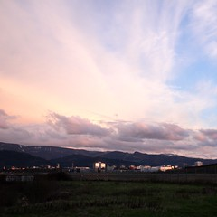 Freiburg in the setting sun II (tillwe) Tags: pink sunset sky clouds landscape freiburg blackforest tillwe 201603