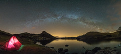 'Lakeside Stars' - Llynnau Cregennan, Snowdonia (Kristofer Williams) Tags: camping sky panorama mountain lake night stars landscape still nightscape tent calm astro lakeside astrophotography snowdonia darksky milkyway wildcamp caderidris iridiumflare cregennanlake llyncregennan snowdoniainternationaldarkskyreserve